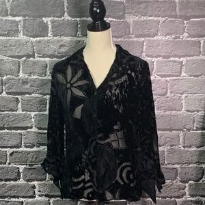 Chico's Black Velvet Burnout Silk Blouse Sz 1 M
